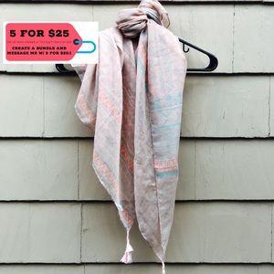 Accessories - Pink & Blue Tribal Pattern Scarf w/ Tassels